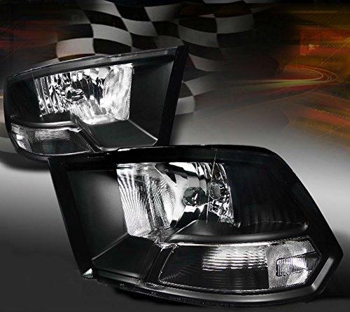 2009-2014 Dodge RAM 1500 2500 3500 Black Headlights Clear Signal Reflector