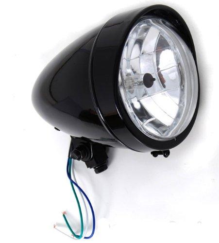 Bobber Gloss Black Headlight with Visor Light 55 Halogen fits Harley-Davidson Motorcycle