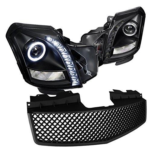 Cadillac Cts Halo Projector Led Black HeadlightsAbs Mesh Hood Grille Black