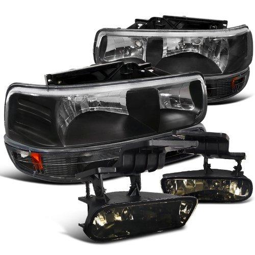Chevy Chevrolet Silverado Suburban Black Headlights Bumper Smoked Fog Lights