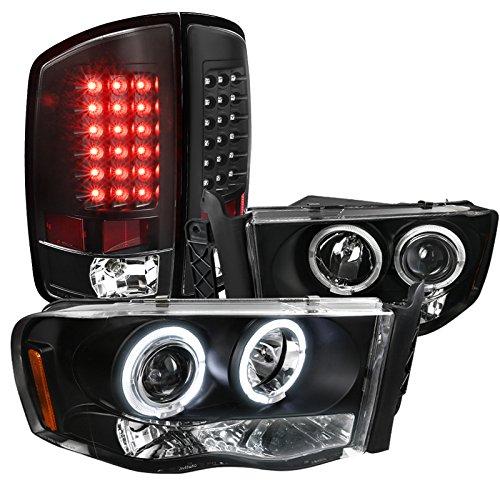 Dodge Ram 1500 2500 3500 Black Headlights Black Led Tail Lights Lamps