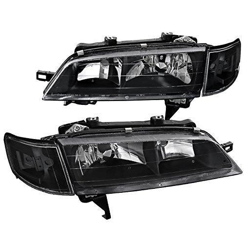 Fit Honda Accord JDM Black HeadlightsClear Corner Turning Signal Lamps Pair