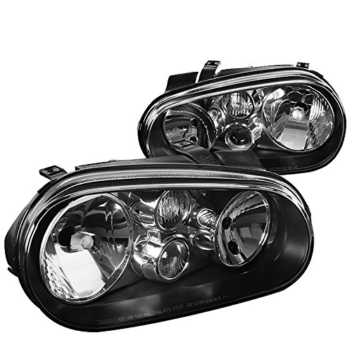 For VW Golf GTI MK4 R32 Cabrio Replacement Black Headlights wBuilt-in Fog Lamps