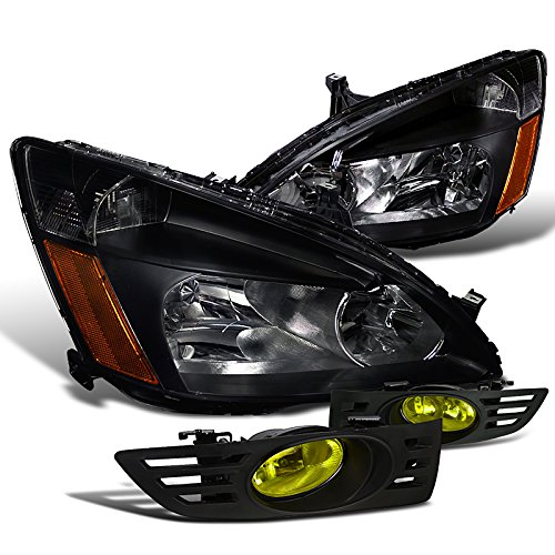 Honda Accord 2 Dr Coupe Ex Lx Black Headlights Yellow Fog Light Lights Pair
