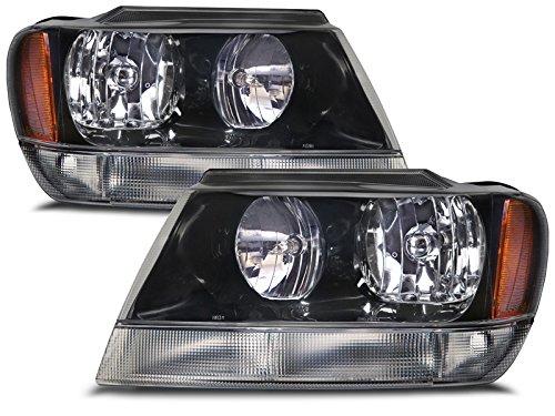 Jeep Grand Cherokee Laredo New Black Headlights Set wClear Signal Lights wo Bulb