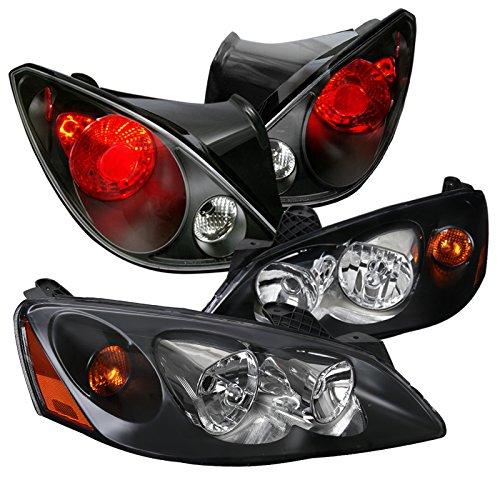 Pontiac G6 2Dr Replacement Black HeadlightsBlack Brake Tail Lamps LeftRight