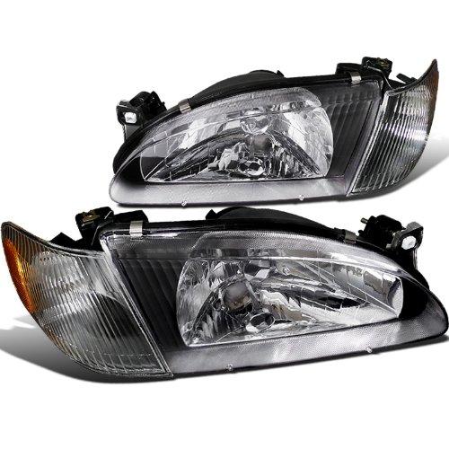 Spec-D Tuning 2LCLH-COR98JM-RS Toyota Corolla Ce Le Ve 4Dr Black Headlights w Corner Lights 1Pc