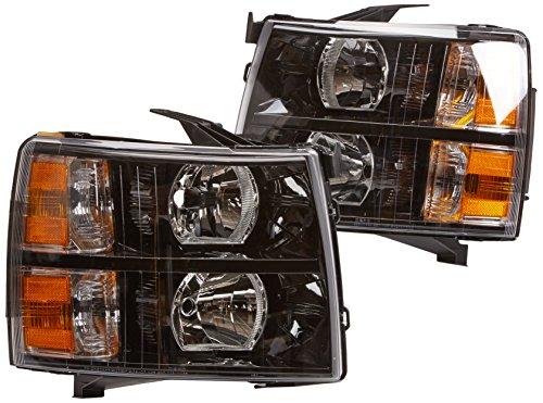 Spec-D Tuning 2LH-SIV07JM-DP Chevy Chevrolet Silverado Lt Ls Black Headlights W Reflector