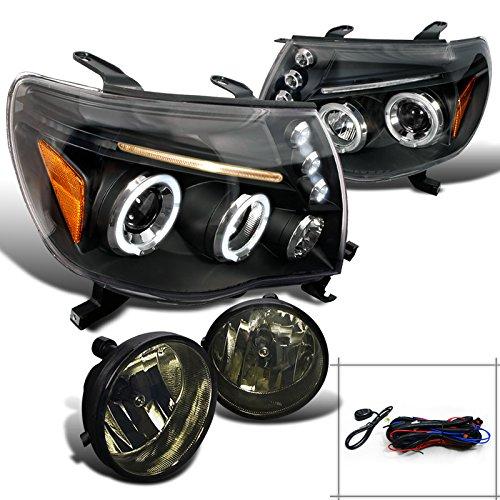 Toyota Tacoma Pick-up LED Halo Projector Black HeadlightsSmoke Driving Fog Lamp
