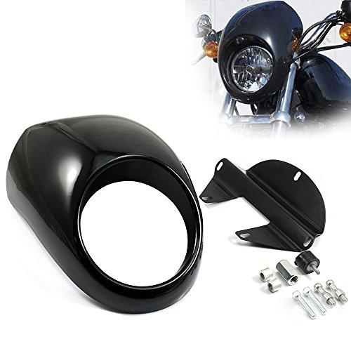 NEVERLAND Front Headlight Fairing Cover Cowl Fork Mount For Harley Sportster Dyna FXXL 883 1200 Gloss Black