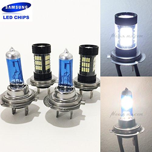 2 Pair H7 Super White 100 Watt Halogen 5000K H7 Bright Chip 57 LED 6000K Xenon Light Lamp Headlight Bulb HighLow Beam