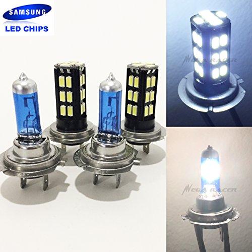2 Pair H7 Super White 55 Watt Halogen 5000K H7 Bright Chip 30 LED 6000K Xenon Light Lamp Headlight Bulb HighLow Beam