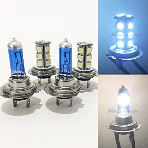 2 Pair H7 Super White 55 Watt Halogen 5000K H7 LED 18-SMD Light Blue 8000K Xenon Lamp Headlight Bulb HighLow Beam Car