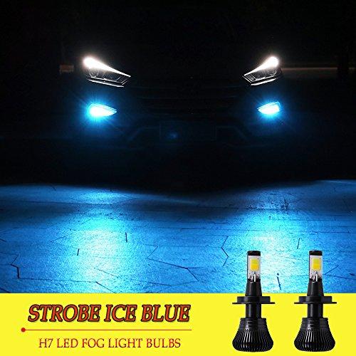 H7 LED Fog Light Bulb H7 Fog Bulbs Ice Blue 8000K Strobe Flashing Lamps Car Trucks 12V 30W Accessories Universal Replacement Modification Bright New 2pcs【1797】 STROBE ICE BLUE