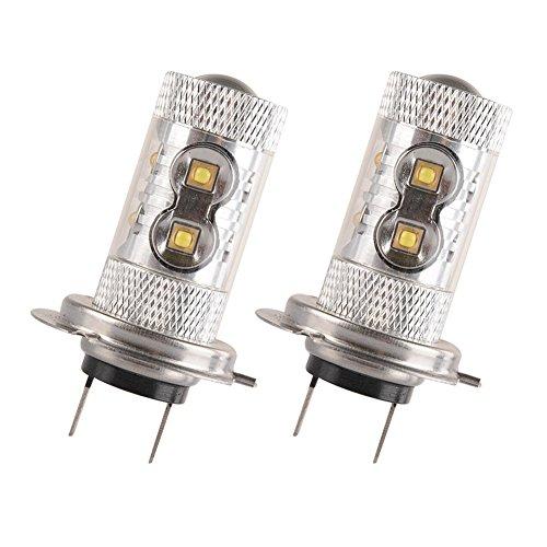 HOTSYSTEM Super Bright 12V 50W CREE H7 LED White Fog Light Bulb For Car Driving DRL Lamp 2-pack