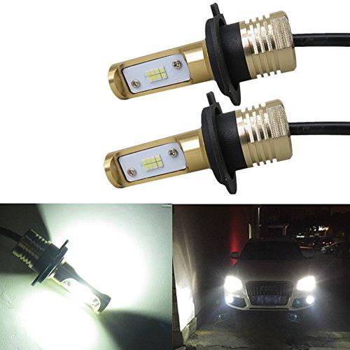WLJH 2x H7 Fog Lights 80W 1200LM 6500K Low Beam White LED Headlight Replacement Bulbs Fog Lamp DRL Daytime Running Lights