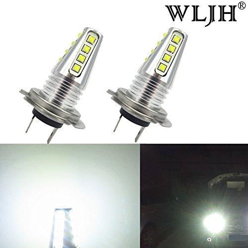 WLJH H7 Cree LED Fog LightDRL Bulbs High Power 80W 1000LM Super Bright White for Fog Daytime Running Light LampsPack of 2