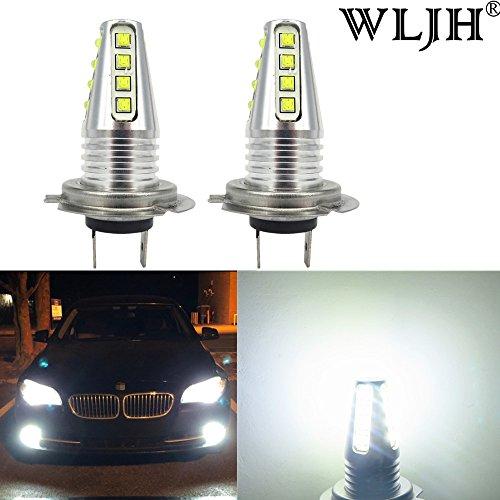 WLJH High Power CREE XB-D LED Chipsets H7 LED Bulbs 12V 24V 80W 1000LM Replacement for LED Fog Driving Lights Daytime Running Light LampPack of 2