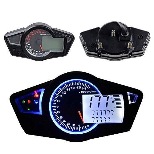 Motorcycle Motorbike Odometer 999999km Tachometer Speedometer Gauge 199 kmhmph 15000 RPM Universal LCD Digital