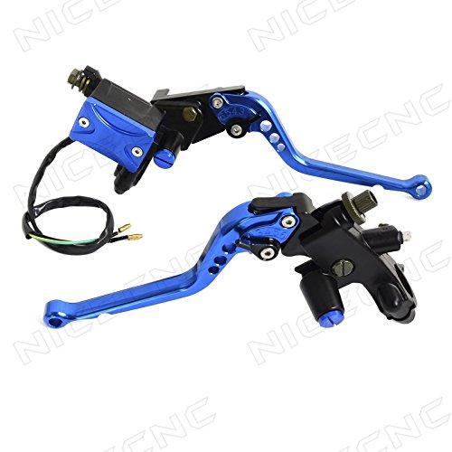 NICECNC Blue Adjustable Brake Clutch Master Cylinder Reservoir Lever Universal for HondaYamahaKawasakiSuzukiBMW125-400cc SportStreetScooterOff-road Motorcycle with 7822mm handlebar