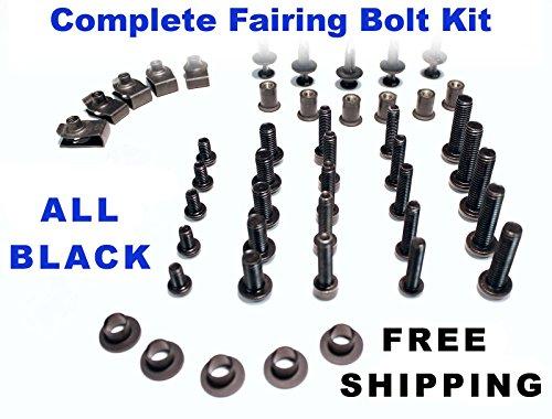 Black Complete Motorcycle Fairing Bolt Kit Kawasaki 2002 - 2005 Ninja ZX-12R Body Screws Fasteners and Hardware