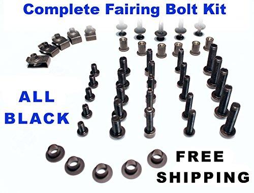Black Complete Motorcycle Fairing Bolt Kit Kawasaki EX250 2008 - 2011 Body Screws Fasteners and Hardware