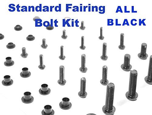 Black Standard Motorcycle Fairing Bolt Kit Kawasaki EX250 2008 - 2011 Body Screws Fasteners and Hardware