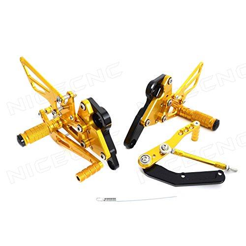 NICECNC Gold Adjustable Racing CNC Left and Right RearsetsRear Sets Footrests for MT-09FZ-09 2013 2014 2015 2016 Y-amaha
