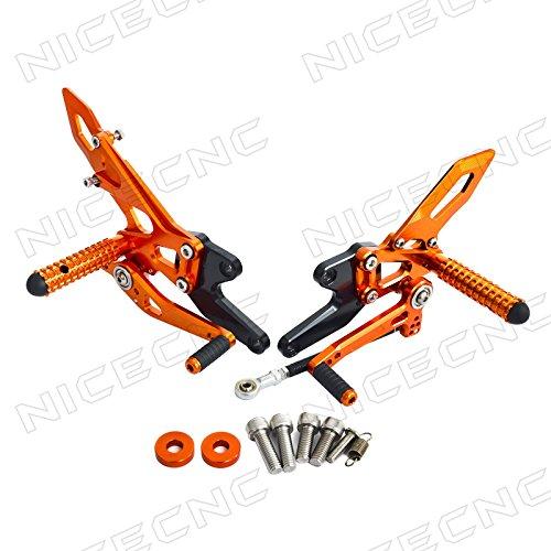 NICECNC Orange Adjustable Rearset Racing CNC Rear Sets Footrests for 1290 Super DukeR 2014 2015 2016 2017