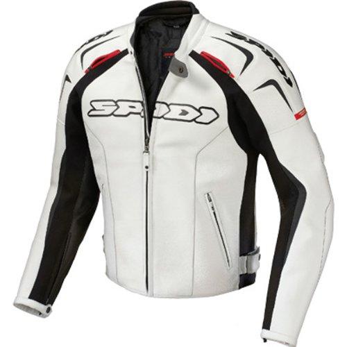 Spidi Track Men's Leather Street Racing Motorcycle Jacket - White/black / E52/us42