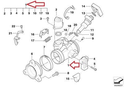 BMW Genuine Throttle Housing Assy Throttle valve assembly left for R1200RT