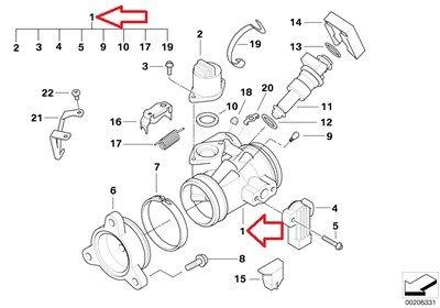 BMW Genuine Throttle Housing Assy Throttle valve assembly right for R1200RT