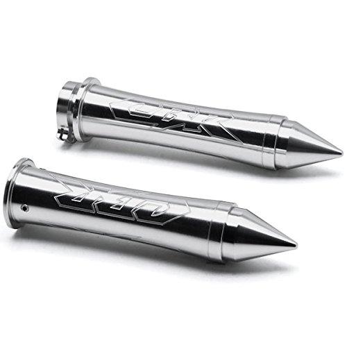 Krator Silver Hand Grips CBR Logo Spiked Bar Ends Grip For Honda CBR 250R 929 954 RR