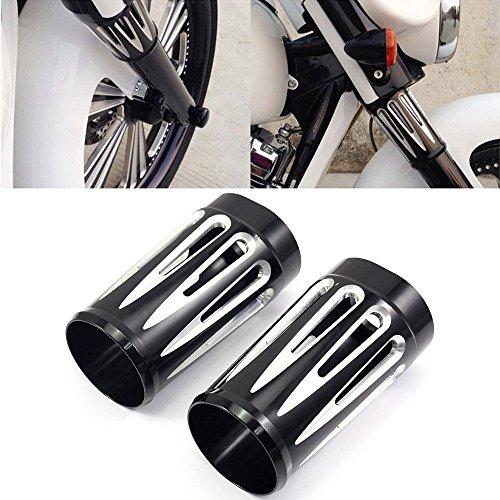 NEVERLAND Edge Cut Billet Aluminum Fork Boot Slider Cover Cow For Harley Touring Black