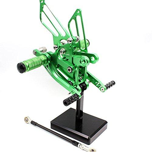 FXCNC Motorcycle Rear Foot Pegs CNC Rear set Footrests Fully Adjustable Rear Foot Boards Fit for KAWASAKI Ninja ZX6R ZX636 2009 2010 2011 2012 2013 2014 2015 Green