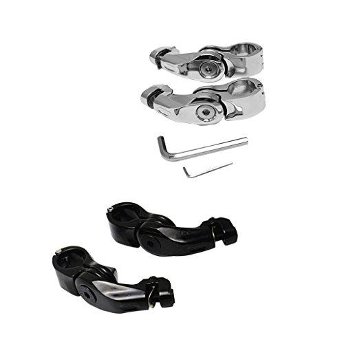 MagiDeal Black and Silver 32mm Short Angled Adjustable Highway Peg Mount for Harley