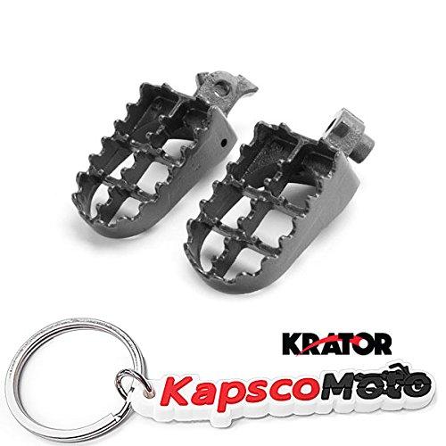 Krator Honda  Kawasaki Motocross MX Black Foot Pegs - CRF50F CRF100F XR70R XCRF100F KLR650 and More 1985-2013 Dirtbike Foot Rest Stomper Footpegs  KapscoMoto Keychain