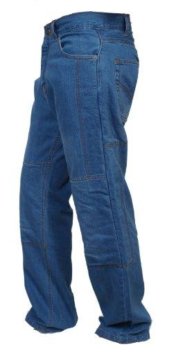Juicy Trendz Men's Denim Blue Light Linned Biker Motorbike Motorcycle Pants Trousers Jeans