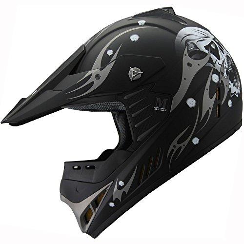 Kid Youth ATV Motocross Dirt Bike Off Road Helmet B82 Skull Matt Black YS