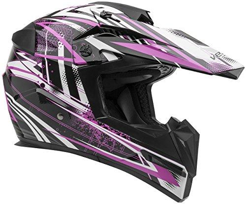 Vega Helmets MIGHTY X Kids Youth Dirt Bike Helmet – Motocross Full Face Helmet for Off-Road ATV MX Enduro Quad Sport 5 Year Warranty  Pink Blitz GraphicLarge