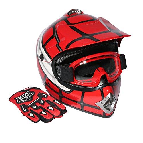 XFMT Youth Kids Motocross Offroad Street Dirt Bike Helmet Goggles Gloves Atv Mx Helmet Red Spider L