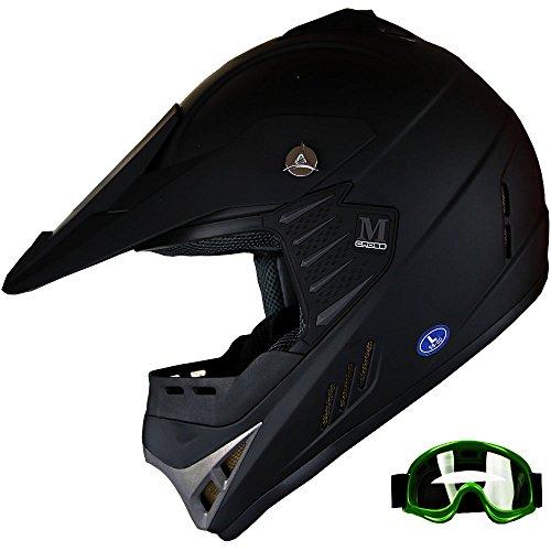 Kid ATV Motocross Dirt Bike Off-road Helmet Combo Matt BlackGoggles Green Goggles YM