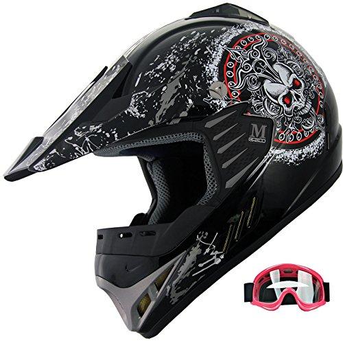 Kid ATV Motocross Dirt Bike Off-road Helmet Mountain Bike Helmet YA47 goggles RedBlack YS