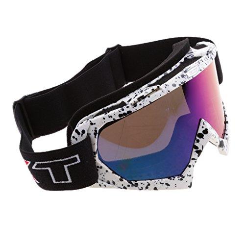 MonkeyJack Motorcycle Motocross Dirt Bike ATV Racing Goggles Ski Snowboard Snowmobile Glasses Windproof Dustproof Eyewea - White