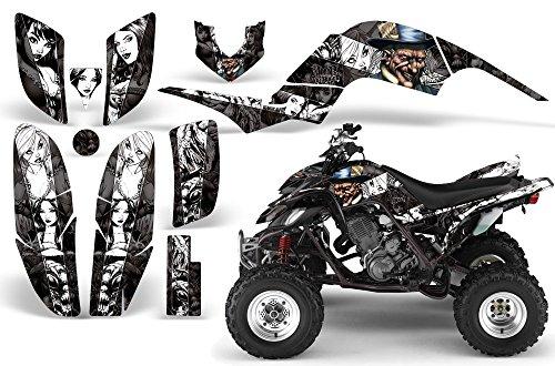2001-2005- Yamaha Raptor 660 AMRRACING ATV Graphics Decal Kit-MadHatter-White-Black
