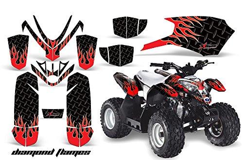 AMRRACING Polaris Outlaw 50 2005-2012 Full Custom ATV Graphics Decal Kit - Diamond Flames Red Black