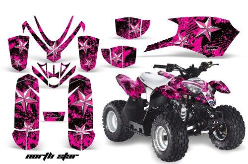 AMRRACING Polaris Outlaw 50 2005-2012 Full Custom ATV Graphics Decal Kit - North Star Pink