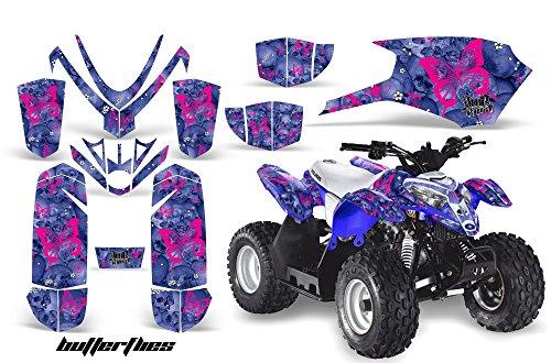 AMRRACING Polaris Outlaw 50 2005-2012 Full Custom ATV Graphics Decal Kit - Skulls and Butterflies Pink Blue