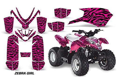 AMRRACING Polaris Outlaw 50 2005-2012 Full Custom ATV Graphics Decal Kit - Zebra Girl Pink