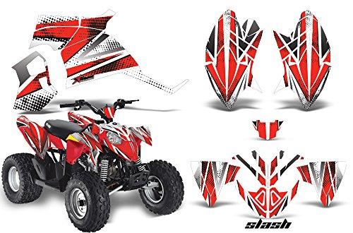 AMRRACING Polaris Outlaw 90 All Years Full Custom ATV Graphics Decal Kit - Slash Red White
